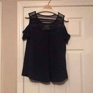Navy Peekaboo Shoulder Top